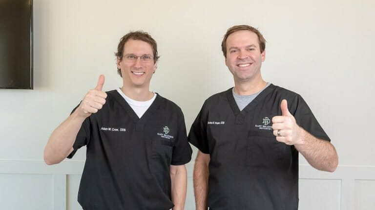 Dr. Crown and Dr. Hooper giving thumbs up